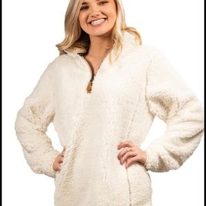 NWOT-Simply Southern White Quarter-ZIP Fluffy Sherpa Pullover